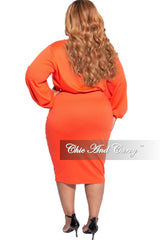 New Plus Size Exclusive 2-Piece Set Long Sleeve Top and High Waist Pencil Skirt in Orange