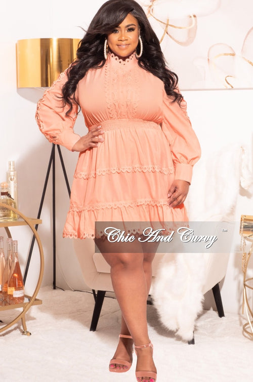 Final Sale Plus Size Babydoll Dress in Peach
