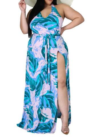 *Final Sale Plus Size 2-Pc Ruched Tie Dye Set in Navy and White Tie Dye