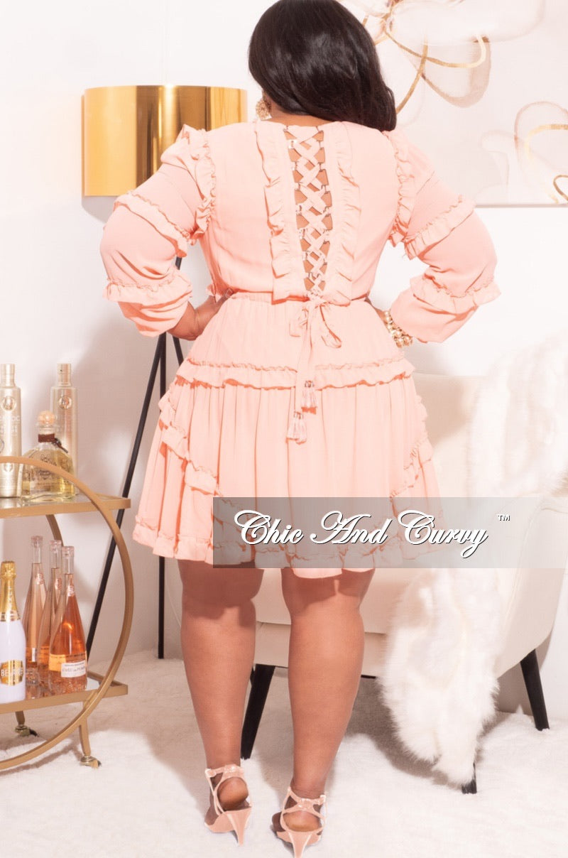 Final Sale Plus Size Chiffon Skater Dress in Peach