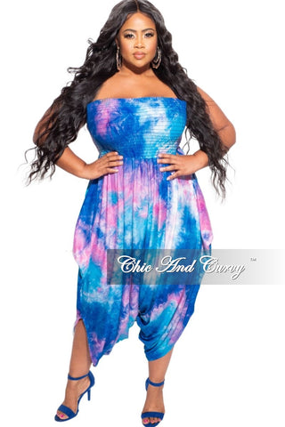 New Plus Size Strapless Smocked Harem Jumpsuit in Aqua Purple Pastel Tie Dye