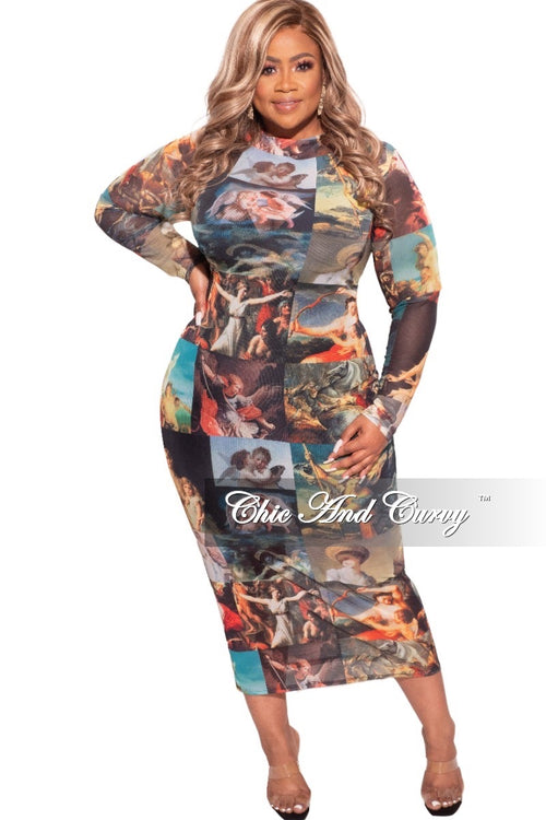 Final Sale Plus Size Reversible BodyCon In Mesh with Painting Print