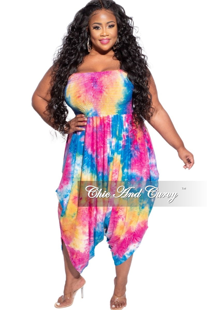 New Plus Size Strapless Smocked Harem Jumpsuit in Blue, Fuchsia & Yellow Tie Dye