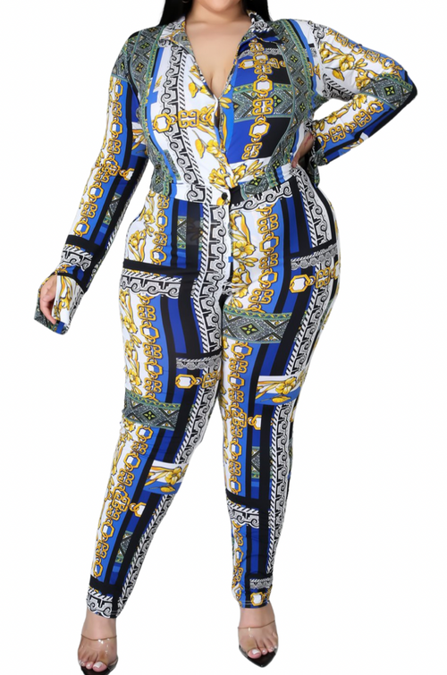Final Sale Plus Size 2pc (Bodysuit & Pants) Set in Faux Blue Gold Print