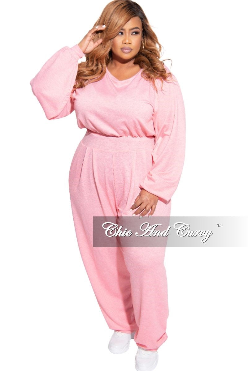 New Plus Size Exclusive 2-Piece Set Crop Top and High Waist Pant Set in Pink & White French Terry Blend