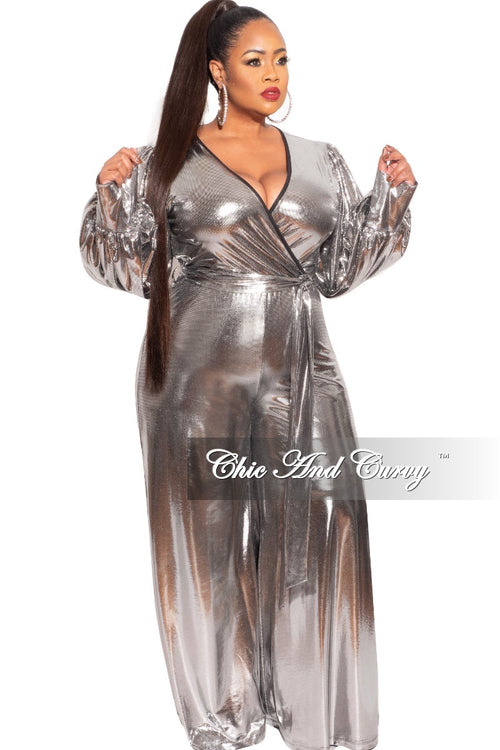 Final Sale Plus Size Faux Wrap Tie Jumpsuit in Silver Foil