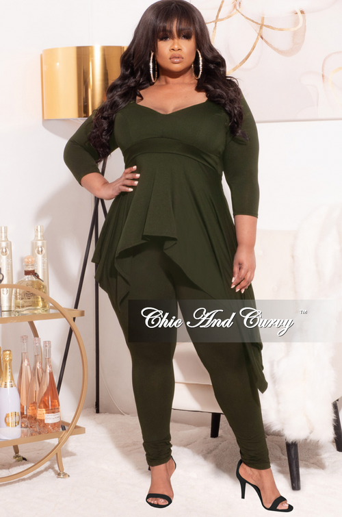 Final Sale Plus Size 2-Pc Set with Hi/Low Top and Pants in Olive
