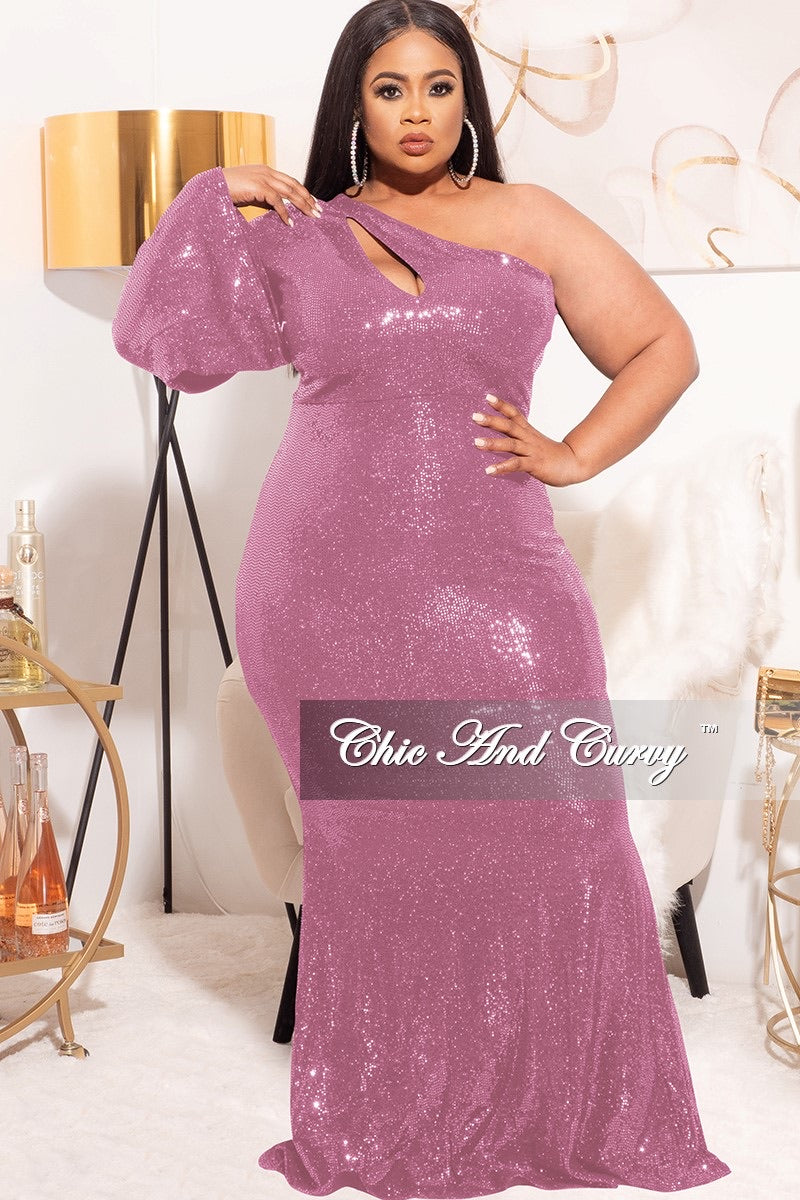 *Final Sale Plus Size Faux Sequin Long Sleeve Cut Out Gown in Iridescent Pink