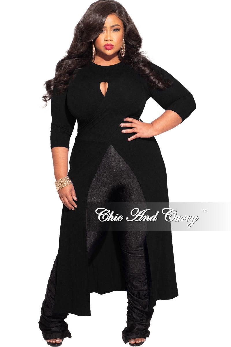 *Final Sale Plus Size Long Tunic Top with Keyhole in Black