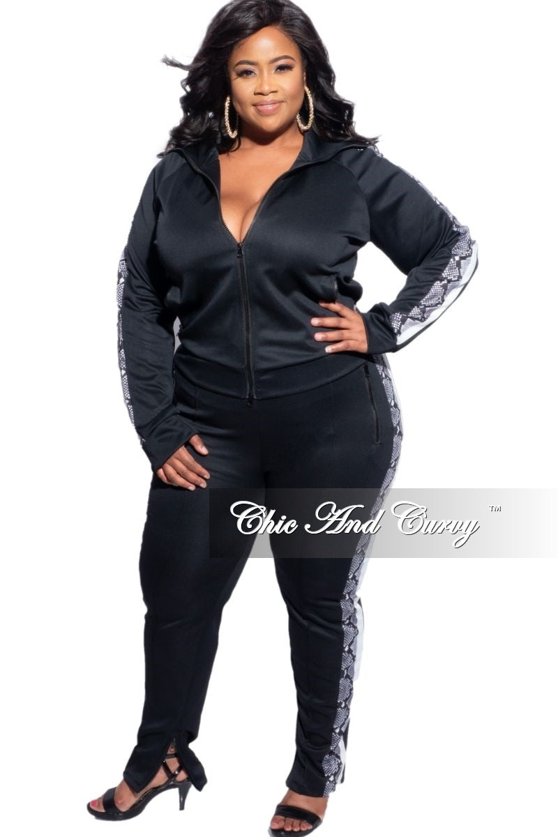 Final Sale Plus Size 2-Piece Split Shoulder Jacket and Pants Set in Black with Snake Print Stripe