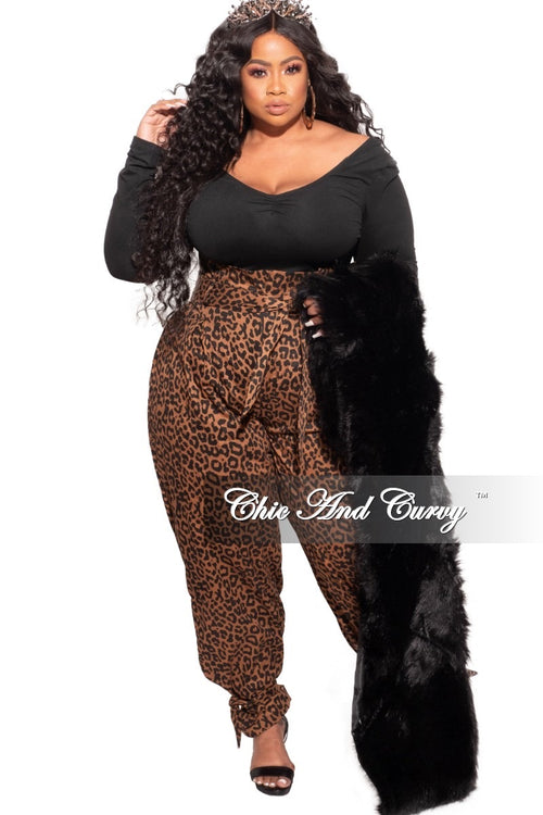 *Final Sale Plus Size Paperbag Jogger Pants with Attached Tie in Animal Print
