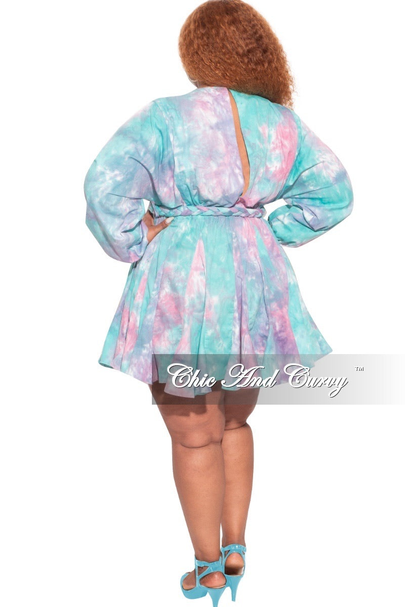 *Final Sale Plus Size BabyDoll Dress in Cotton Candy Tie Dye Print