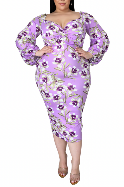 Final Sale Plus Size Final Sale Plus Size Off the Shoulder Sweetheart BodyCon Dress in Lavender Floral Print