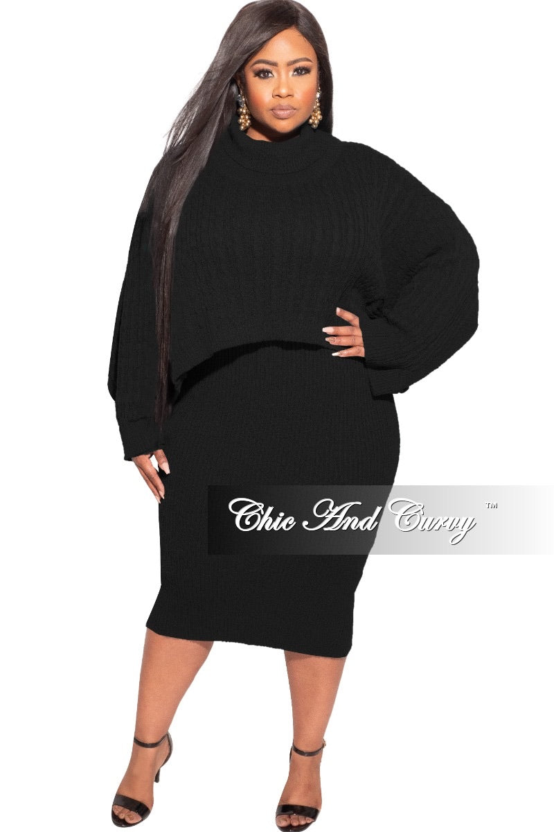 Final Sale Plus Size Sweater Dress with Poncho in Black