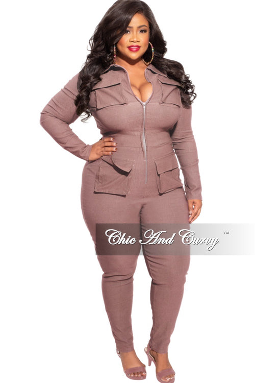 *Final Sale Plus Size Cargo Jumpsuit in Mocha