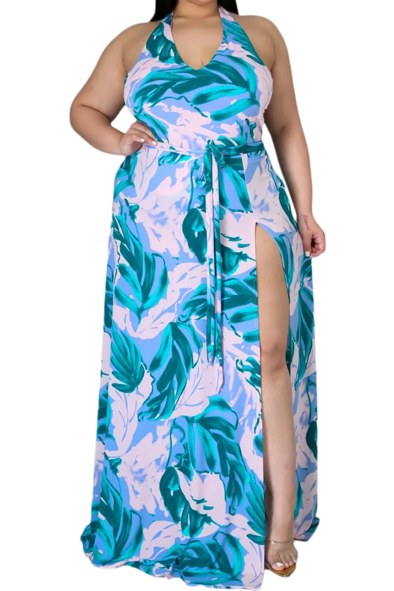 Final Sale Plus  Size 2-Pc Set Poolside Playsuit with Bodysuit & High Split Skirt in Pink/Blue Leaf