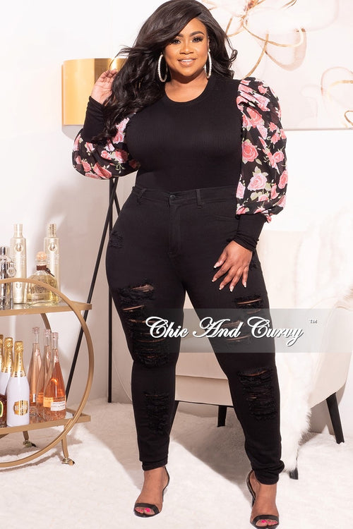Final Sale Plus Size Long Sleeve Ribbed Top with Puffy Sleeves in Black & Pink Floral Print