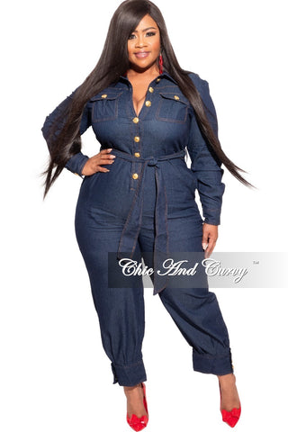 New Plus Size Long Sleeve Faux Wrap Jumpsuit with Attached Tie in Multi-Color Print