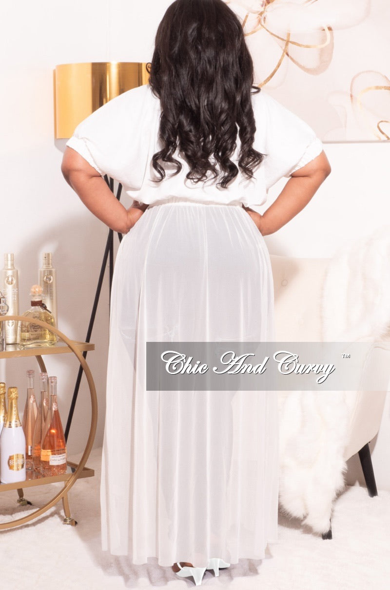 Final Sale Plus Size Top with Mesh Train in White Love