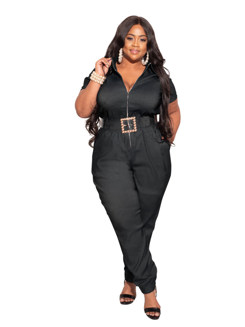 Final Sale Plus Size Zip Pocket Jumpsuit in Black