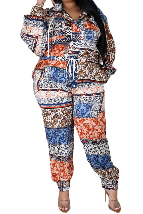 New Plus Size Jumpsuit in Navy, Rust & Ivory Print