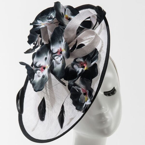 Final Sale Fascinator Hat with Orchid Flowers and Feathers in White