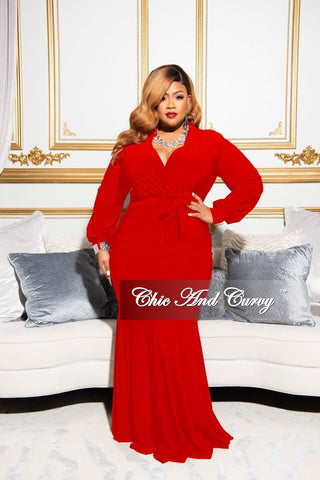 New Plus Size Chic And Curvy Exclusive Ruched Maxi Dress in Red