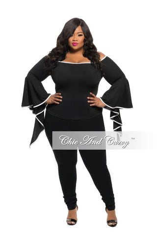 50% Off Sale - Final Sale Plus Size Top in Black with White Lining