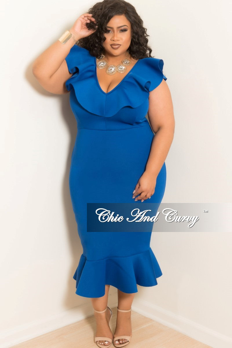 35% Off Sale - Final Sale Plus Size V-Neck Ruffle BodyCon Dress in Royal Blue Scuba