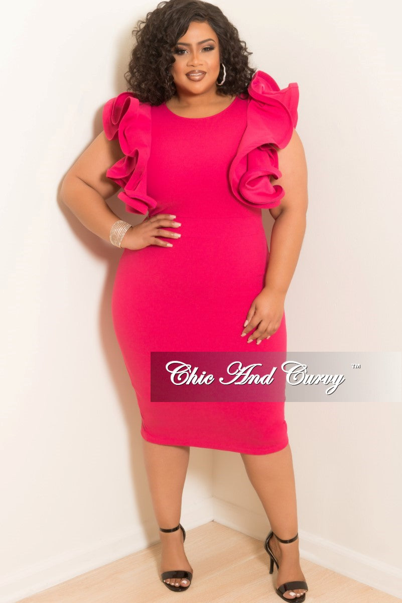 New Plus Size BodyCon Dress with Ruffles Sleeves and Back Gold Zipper with Bottom Slit in Hot Pink