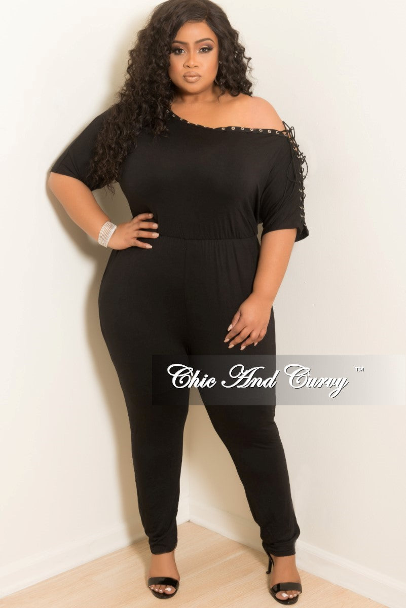 Final Sale Plus Size One Shoulder Jumpsuit with Lace Up Sleeve in Black