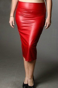 Final Sale Plus Size Skirt - Pencil Cut in Liquid Red