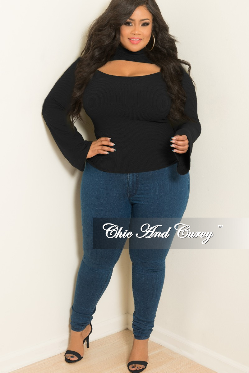 New Plus Size Long Sleeve Top with Front Cutout in Black