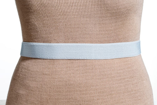 Final Sale Plus Size Belt Elastic Grey Band and Silver Buckle