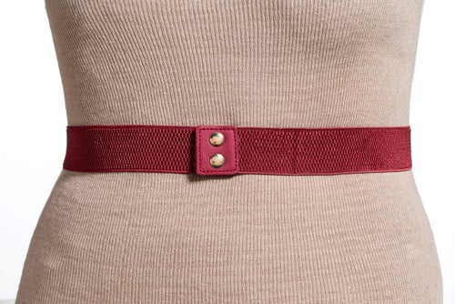 New Plus Size Large Plate Gold Mirror with Elastic Band Belt -One Size- Burgundy (Wide Width)