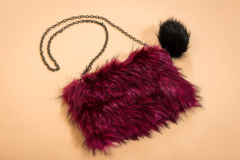 Final Sale Faux Fur Purse in Multi Color