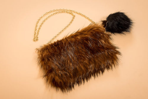 Final Sale Faux Fur Purse in Brown/Black
