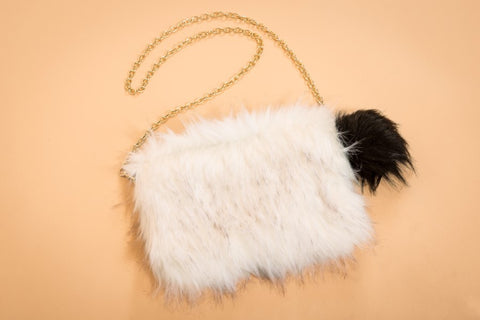 Final Sale Faux Fur Purse in Ivory/Brown
