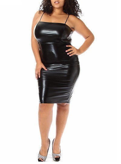 Final Sale Plus Size BodyCon with Spaghetti Straps in Liquid Black