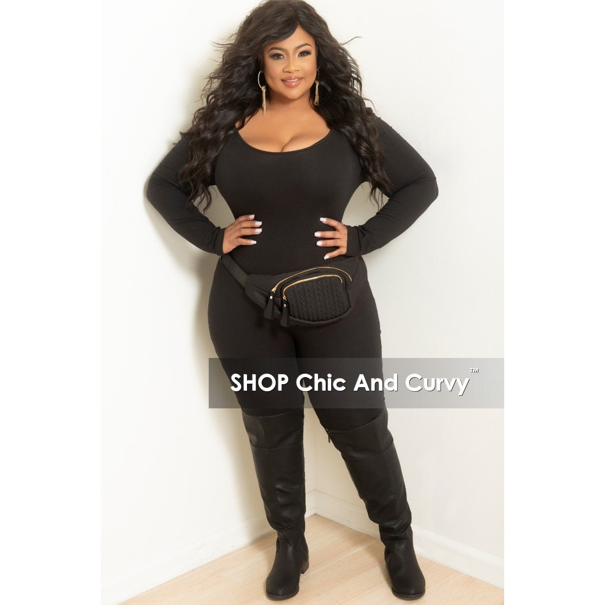 d5ebaa593413 Final Sale Plus Size Leather Fanny Pack with Front Pocket in Black – Chic  And Curvy