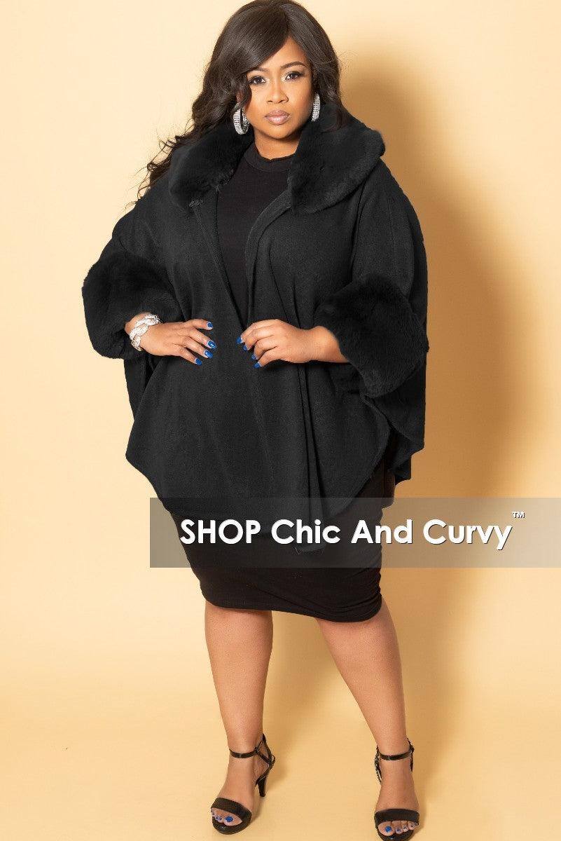Final Sale Plus Size Poncho with Faux Fur Trim in Black