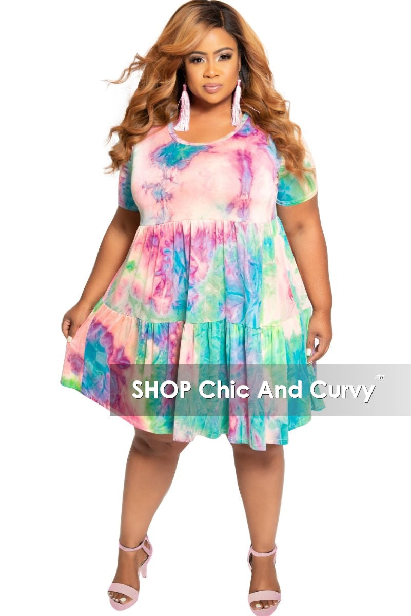 New Plus Size Short Sleeve Baby Doll Dress in Rainbow Print