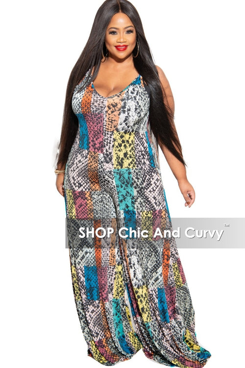 New Plus Size Spaghetti Strap Jumpsuit in Multi-Color Print