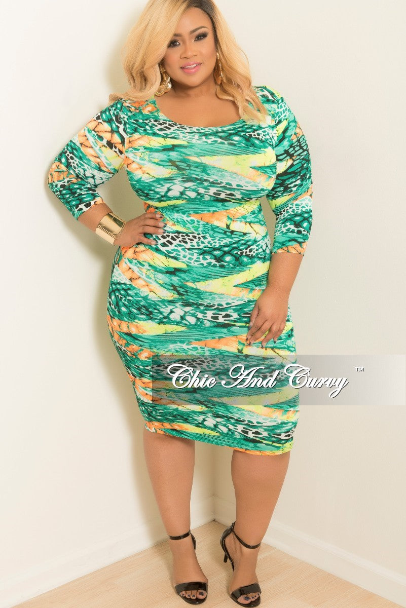 Final Sale Plus Size Body Con Dress with Mid Length Sleeves in Orange, Green and Yellow Animal Print