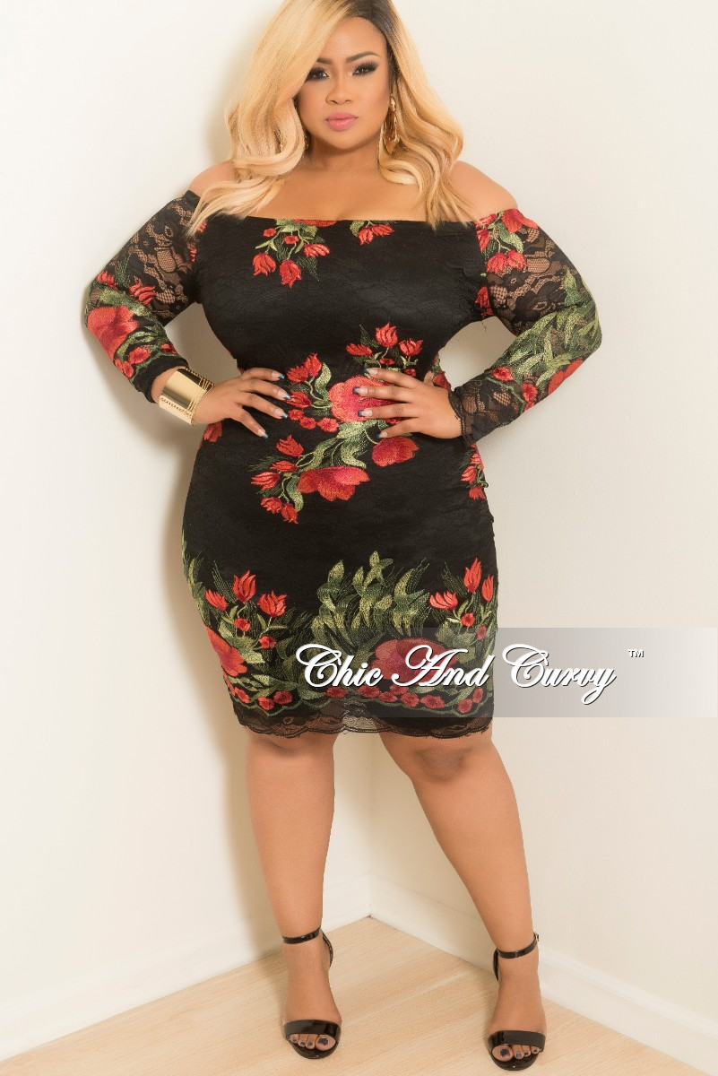 686d0d4863b4 New Plus Size Off the Shoulder Lace Dress with Back Zipper in Black Re –  Chic And Curvy