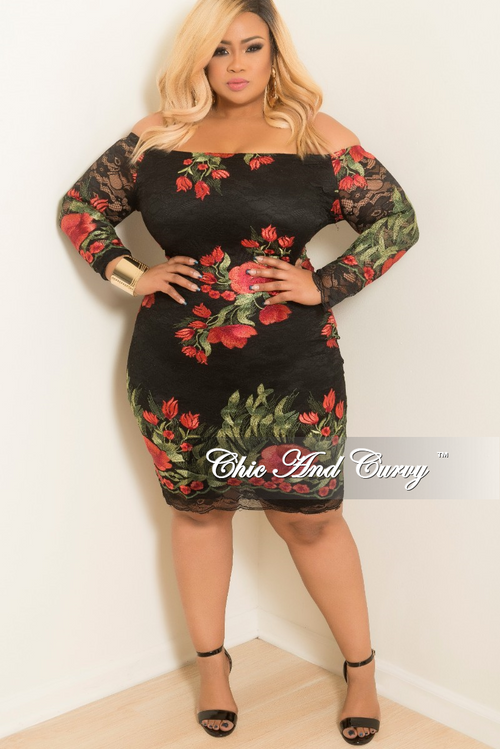 Final Sale Plus Size  Off the Shoulder Lace Dress with Back Zipper in Black Red and Green Floral Print