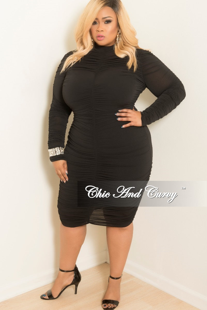 New Plus Size BodyCon Dress with Long Sleeves and Ruched Center in Black