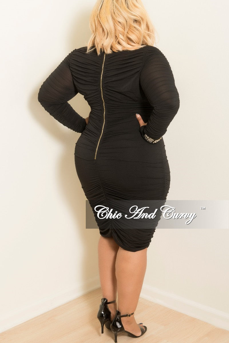New Plus Size Bodycon Dress With Long Sleeves And Ruched Center In