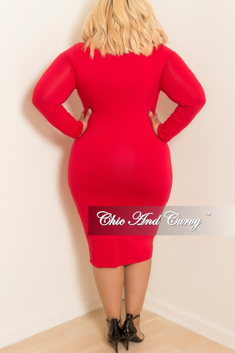 New Plus Size Long Sleeve BodyCon Dress in Red