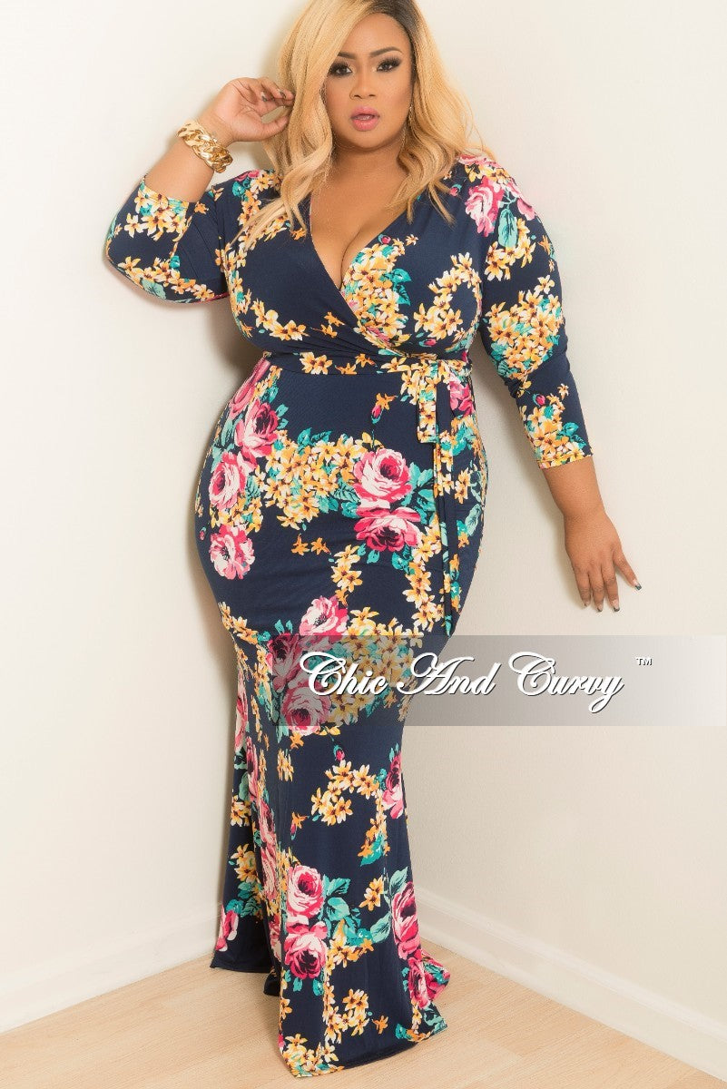 792031580b5 Final Sale Plus Size Floral Long Sleeve Faux Wrap Dress with Attached – Chic  And Curvy